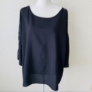 Old Navy Black with Lace Tunic Blouse Size XL